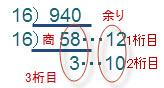 10進数を16で割り続けて、16進数を作る例